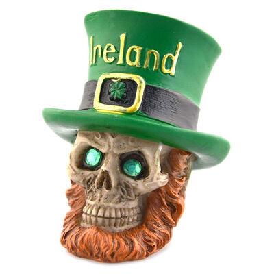 Irish Designed Leprechaun Skull With Sparkly Green Gem Eyes Design