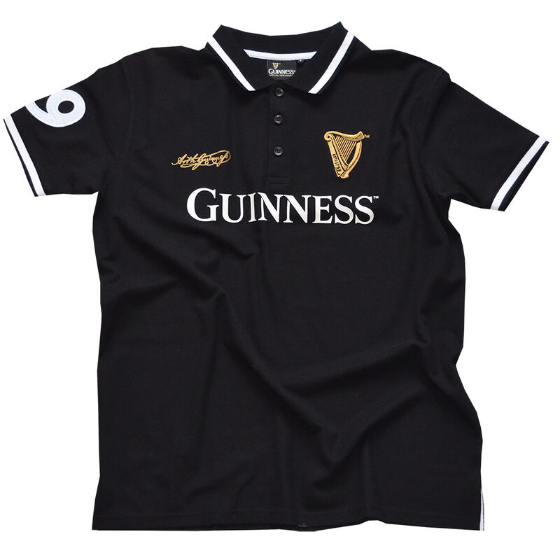 Black Guinness Polo Shirt With Harp Crest And Arthur Guinness Signature in Gold Text
