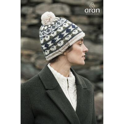 100% Merino Wool Fair Isle Patterned Designed Roll Hem Bobble Hat
