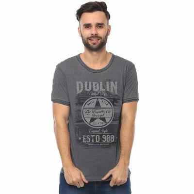Dark Grey Dublin Capital City Unisex T-Shirt With Star Design and EST 988 Text