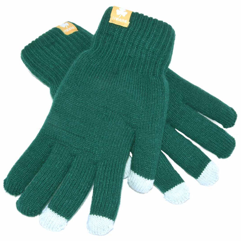 Green Irish Knit Touch Screen Gloves With White Fingers And Shamrock Label