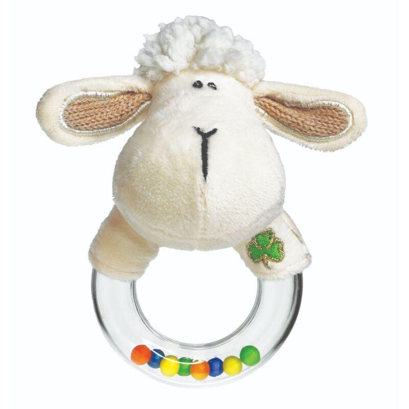Daisy The Irish Sheep Baby Rattle With Shamrock Design  Cream Colour