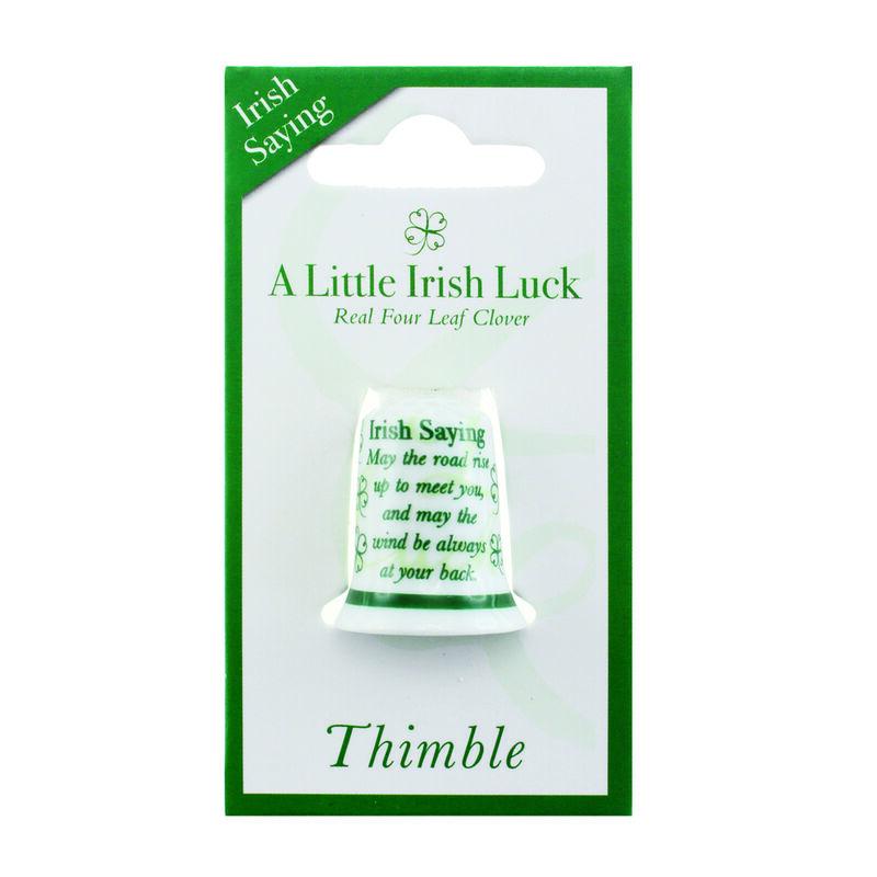 Ceramic Clover Thimble With Irish Saying