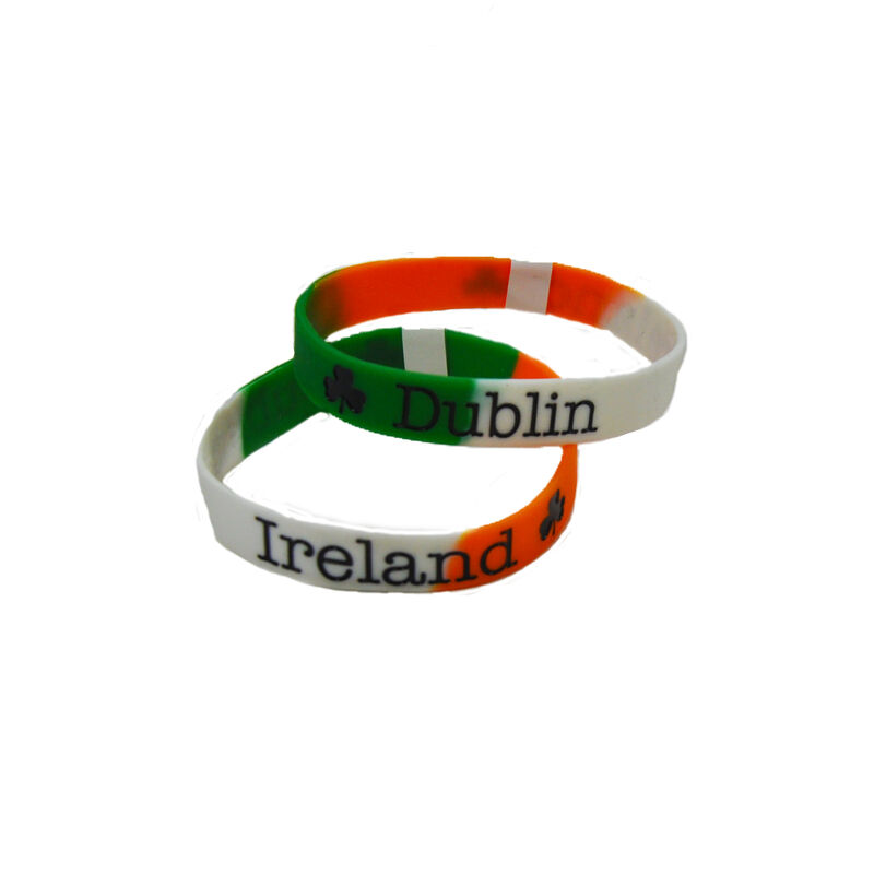 Tricolour Dublin Silicone Wristband With Shamrocks