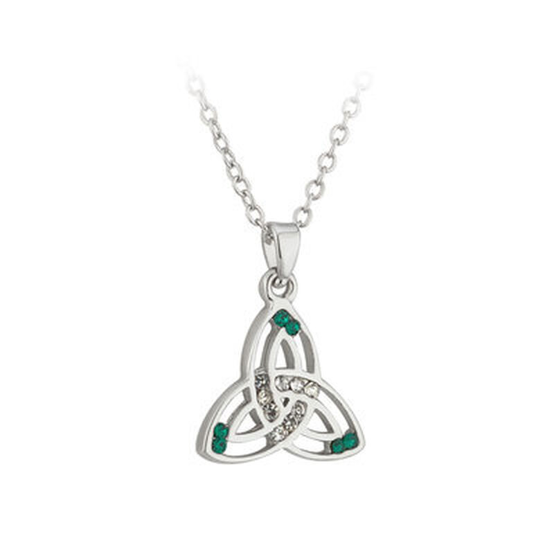 Silver Plated Trinity Knot Pendant With Green And White Crystals