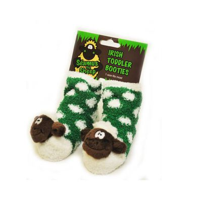 Green Fleece Baby Booties with White Polka Dots and Soft Seamus the Sheep Head