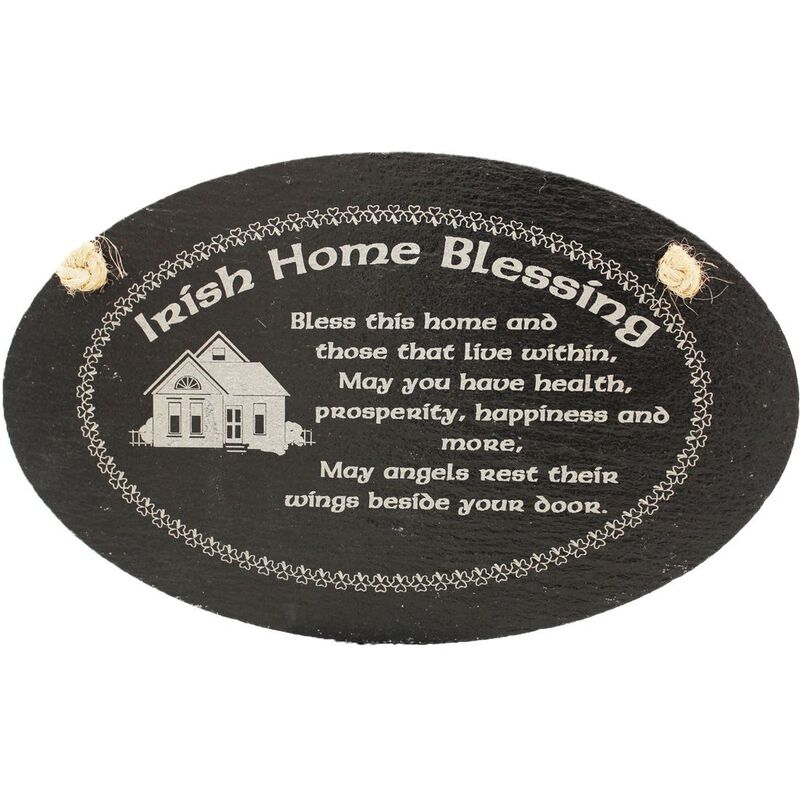 Irish Slate Oval Hanging Plaque With Irish Home Blessing Design