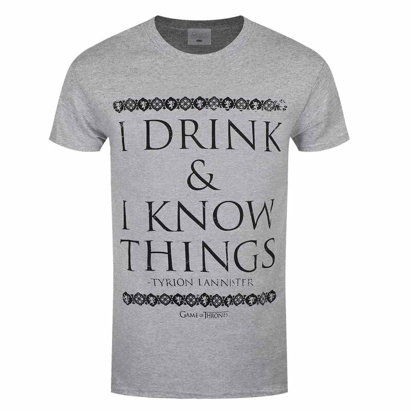 Grey Official Game of Thrones T-Shirt with I Drink and I know Things Text