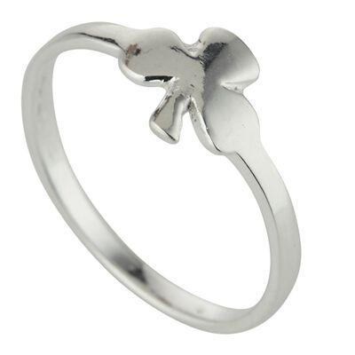 Hallmarked Sterling Silver Simple Celtic Shamrock Design Ring