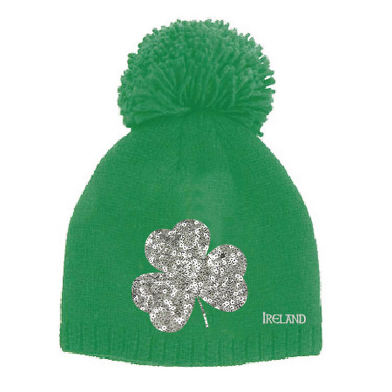 Emerald Green Kids Knitted Bobble Hat With Sequins Designed Shamrock