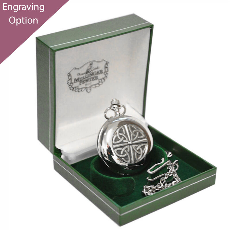 Mullingar Pewter Pocket Watch With Celtic Trinity Knot Design