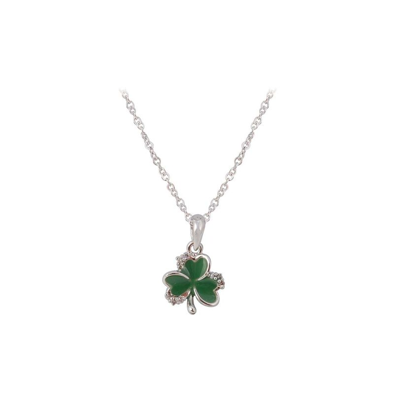 Silver Plated Green Shamrock Pendant With Cubic Zirconia Stones