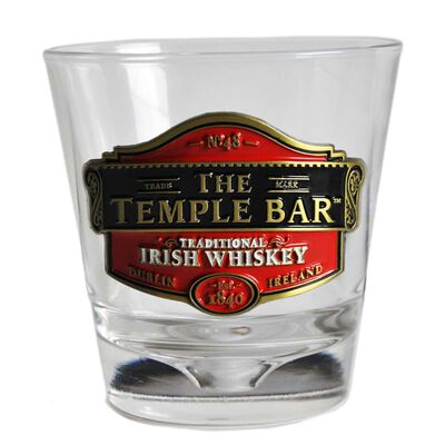Whiskey Glass With Temple Bar Traditional Irish Whiskey Metal Badge Design