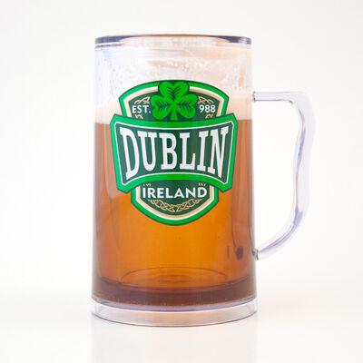 Kunststoff Gefrierschrank Bierkrug mit Dublin Varsity Wappen