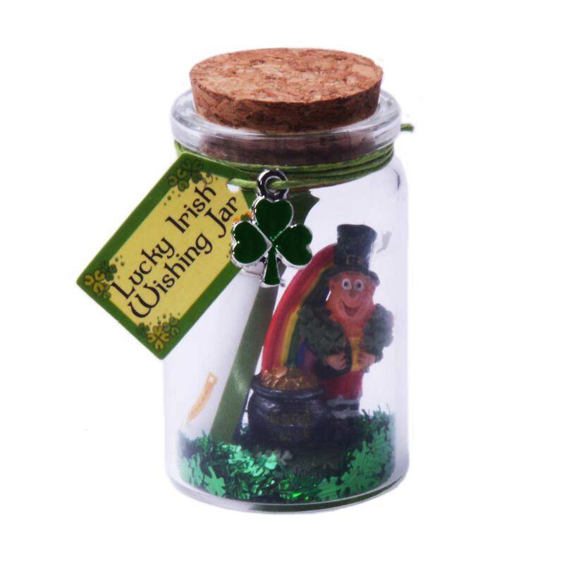 Irish Good Luck Wishing Jar With Leprechaun And Green Glittery Shamrock Design