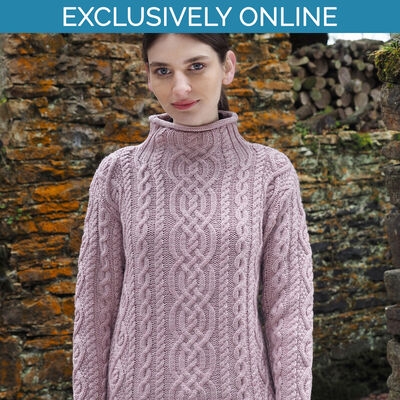 West End Knitwear Pink Colour Kylemore Super Soft Funnel Neck Aran Sweater
