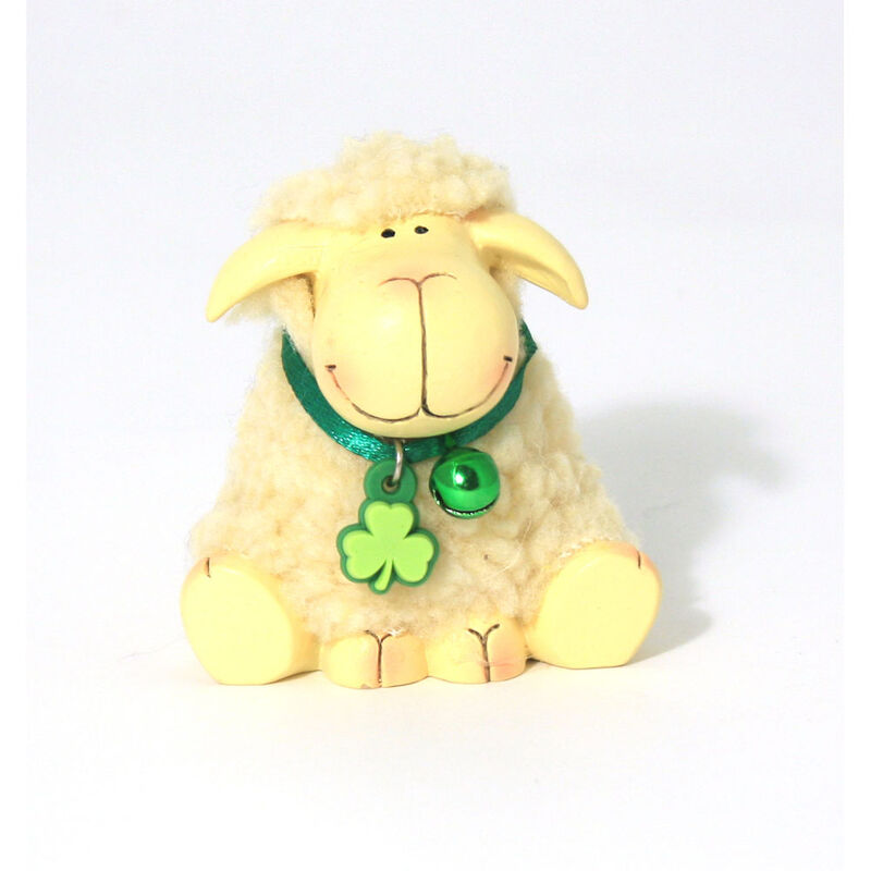 Resin Sitting White Fluffy Sheep Statue With Green Bell and Shamrock Neck Tie