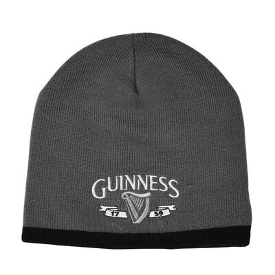 Guinness Beanie Hat With Silver Logo And Black Trim  Grey Colour