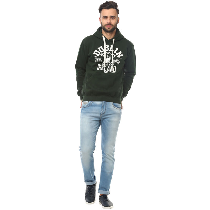 Pullover Hoodie With Vintage Dublin Ireland Print  Forest Green Colour