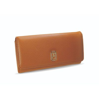 Tipperary Crystal Large Tan Ladies Wallet With Gold Hardware