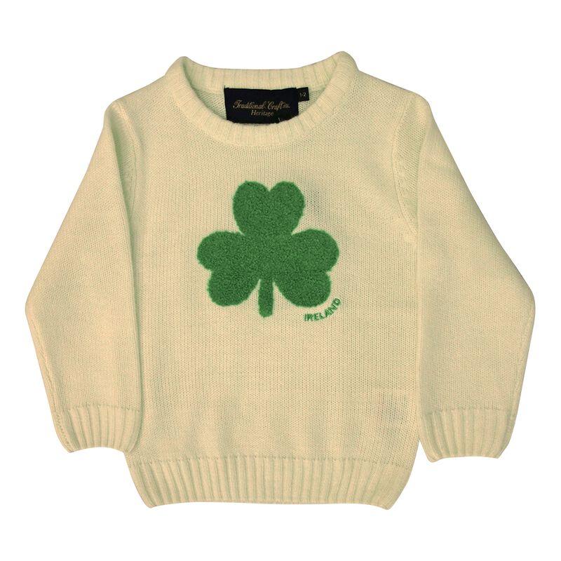Round Neck Ireland Kids Sweater with Fluffy Shamrock  Cream Colour
