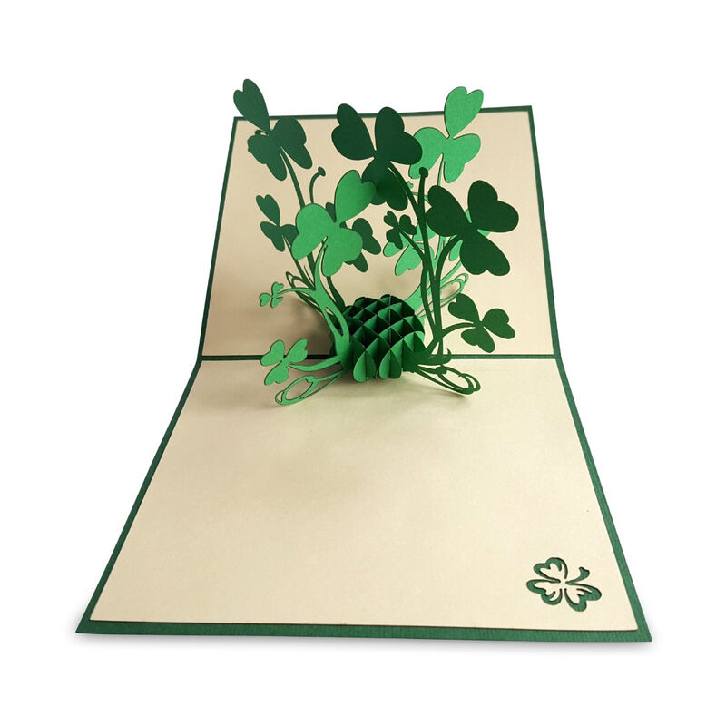 Pop-Up Card with a Bunch of Green Shamrocks Design