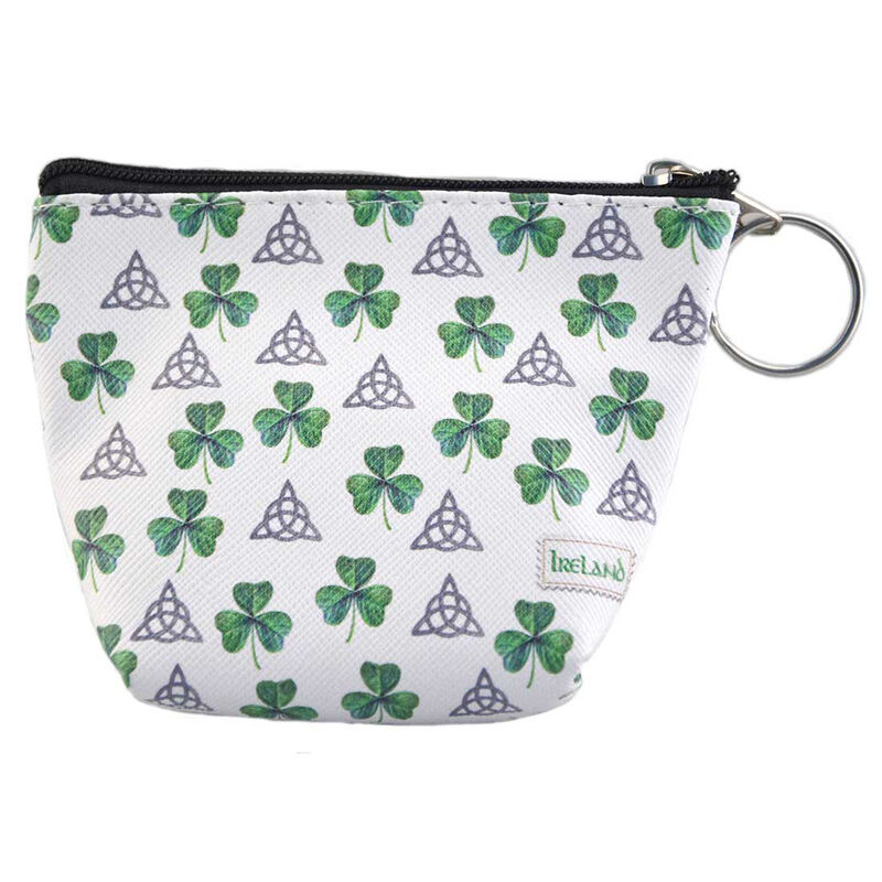 White Ladies Zip Purse Wallet With Trinity Knot And Shamrock Design
