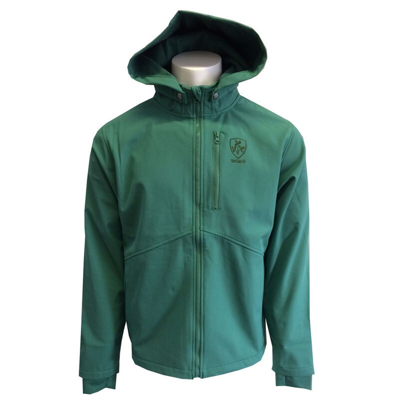 Green Soft Shell Trim Zip Jacket With Hood and Shamrock Sprig Crest