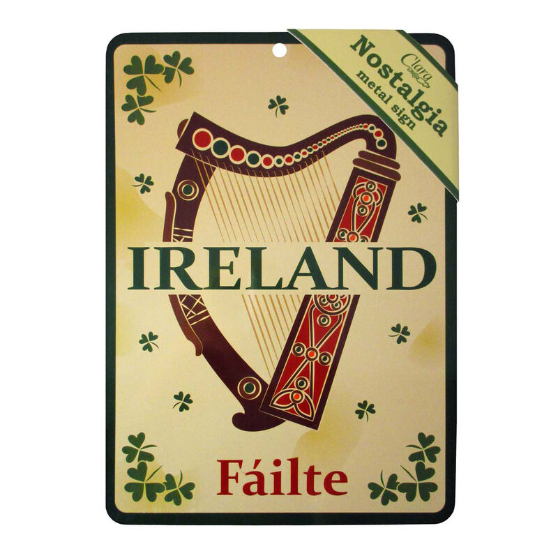 Ireland Failte A5 Nostalgia Metal Sign With Harp Design And Shamrock Details