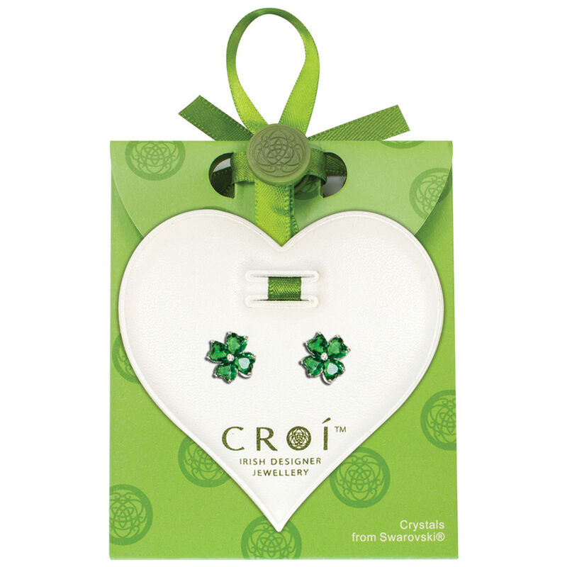 Croí-Kleeblatt-Ohrringe mit Swarovski-Kristallen