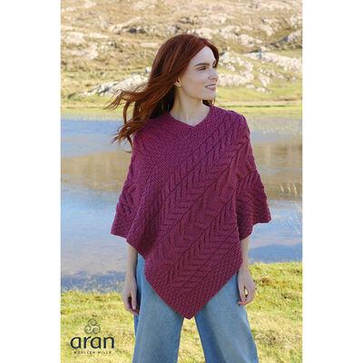 Aran Woollen Mills Triangular Poncho Raspberry Colour Merino Wool