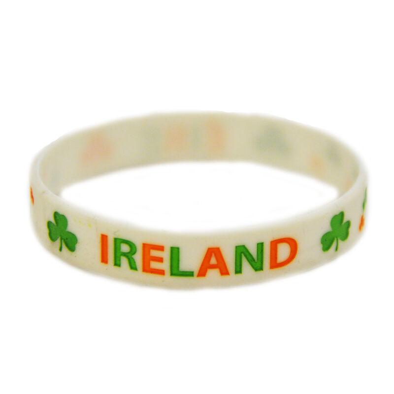 White Ireland Wristband With Shamrocks