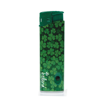 Electric Lighter With Green Shamrock Design And Blue Light