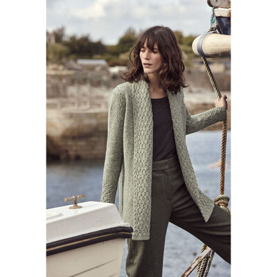 Belvoir Textured Collar Cardigan, Apple Green Colour