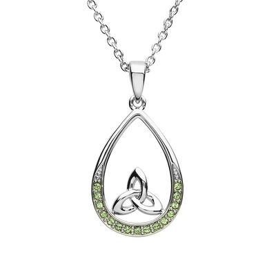 Platinum Plated Pear Drop Trinity Pendant Design With Peridot Swarovski Crystals