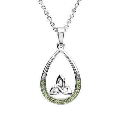 Platinum Plated Pear Drop Trinity Pendant Design With Peridot Swarovski Crystals