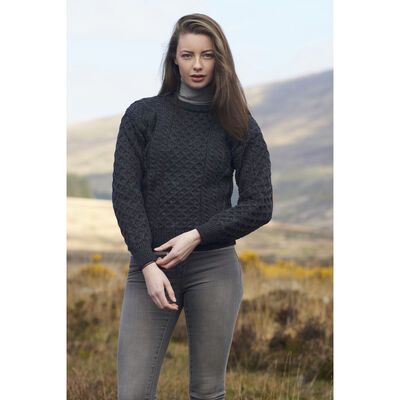 West End Knitwear Women's Aran Sweater Charcoal Colour 100% Merino Wool