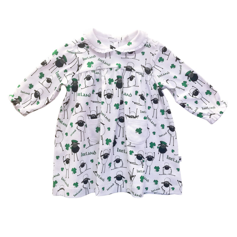 Babies Ireland Dress With Sheep And Shamrock Designs White Colour