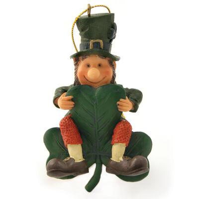 Finnian Hanging Decoration - Little Irish Man Sitting On Green Shamrock