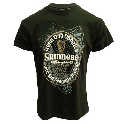 Official Guinness T-Shirt With Irish Label  Bottle Green Colour