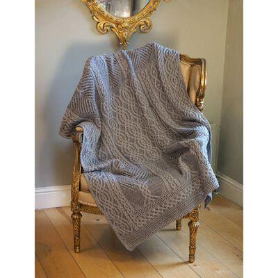 Aran Crafts Fairy Tree 100% Merino Wool Throw  Grey Mix Colour
