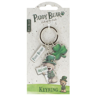 Paddy Bear Irish Designed Keychain With Shamrock Charm