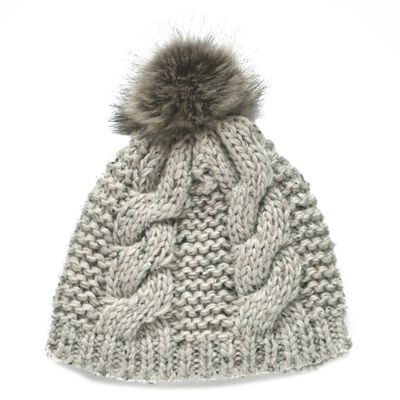 Patrick Francis Ireland Knitted Oatmeal Speckled Wool Fur Bobble Hat
