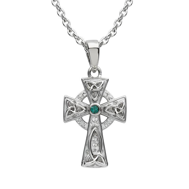 Platinum Plated Celtic Cross Pendant With Green Swarovski Crystals Centre Stone
