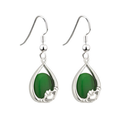 Rhodium Plated Cats Eye Stone Claddagh Drop Earrings