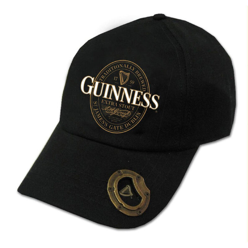 Black Guinness Baseball Cap With Extra Stout Label Design And Bottle Opener