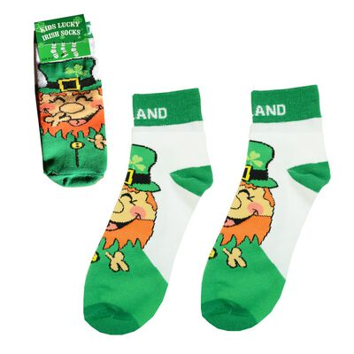 Laughing Leprechaun Socks with Ireland Text and Green Heels  White Colour