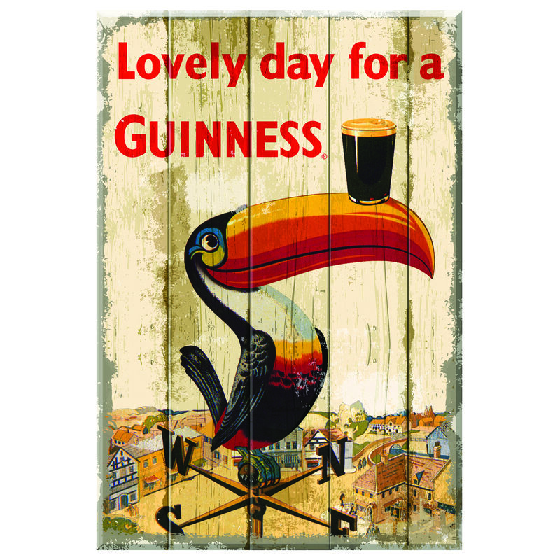 Nostalgic Guinness Wooden Sign With Toucan On Weathervane Design