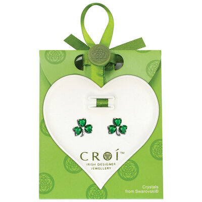Irish Designed Croi Shamrock Earrings With Swarovski Crystal Stones