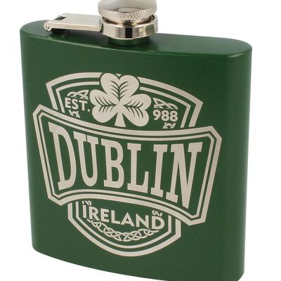 Dublin College 6Oz Stainless Steel Green Hip Flask With Oscar Wilde Quote
